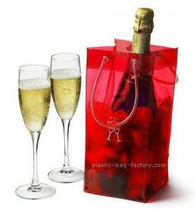 Quality Shiny Transaprent Wine Bottle Cooler Bag Cooling Ice Bag With Long Lifetime for sale