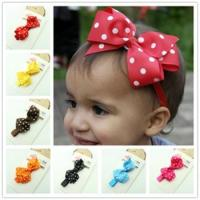 Quality Polka Dot Bow Headband Baby Girl Headbands Solid Color Children Hair Bow Elastic  Infant for sale
