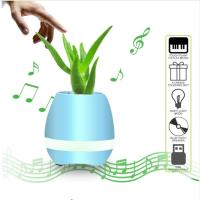 Quality Flowerpot Night Lamp Small Wireless Speakers Smart Piano Touch Music Singing Plant Pot for sale
