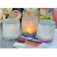 Quality Custom Candle Luxury candle holders glass , Feather Painted glass candle jars for sale