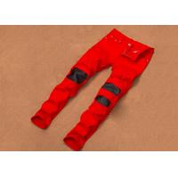 China Breathable Red Distressed Jeans Mens Plain Dyed 28-36 Size Korean Style on sale