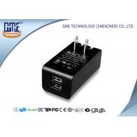 Quality Dual Port 5v 2a Wall Mount Charger Ac Dc Switching Adapter Black Color for sale