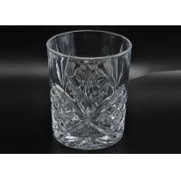 Quality 313ml Leave Pattern Embossment Clear Votive Glass Candle Holders Replacement Candle Jar for sale