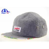 Quality Mixed Wool 5 Panel Camp Cap Snapback Caps for sale