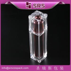 China Shengruisi Newest Design empty square metalized Acrylic Luxury Pump Skincare Lotion Bottle on sale