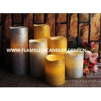 China Gold / Silver Distressed Finish Flameless LED Pillar Candles With Real Wax 10 - 15cm on sale