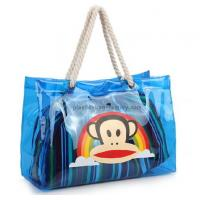 Quality Blue Waterproof PVC Shopping Bags 43x30x12cm Size With Cotton Rope Handles for sale