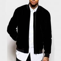 Quality Comfortable Soft Polyester Bomber Jacket Mens Black Flight Bomber Jacket Mix Size for sale