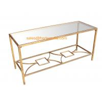 Quality FR-15112  Metal Framed Gold Foil Coffee Table with Mirror Top For Home and Hotel for sale