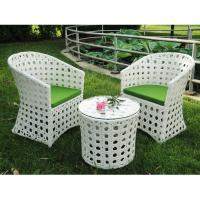 Quality Outdoor garden PE rattan table and chair white color for sale