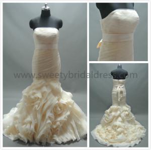 Buy cheap Mermaid & Trumpet Strapless Ruffles Satin Belt Organza Wedding Dress LT2162 from wholesalers