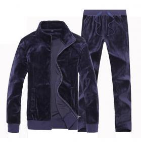 Quality Softer Velour Mens Velvet Tracksuit Set Custom Plain Sportswear Breathable for sale