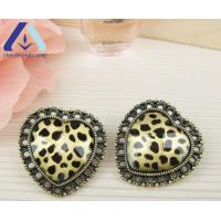 Buy cheap Retro Heart Charming Leopard Print Crystal Stud Earring BEH562 from wholesalers