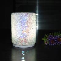 Quality 90*120mm size Cylinder Blue Crazing Intelligent Convex Charging Glass Material Colorful Housing LED Table Lamp. for sale