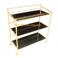 Quality Custome Design Gold Leaf Finish Modern Design Cheap Bamboo Iron Frame with Black Mirror Bar Cart on Wheels for sale