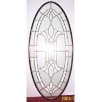 Quality oval shape beveled glass panel with brass caming for sale