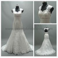 Quality Hot! Mermaid & Trumpet V-Neck Low Back Beading Belt Lace Bridal Dress #AS2662 for sale