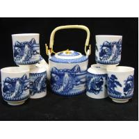 Quality Blue And White Fine Porcelain Tea Sets 6 Pieces Tea Cups For Christmas Gifts for sale