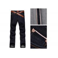 China Men ' S Straight Selvedge Denim Jeans , Stretchable Denim Jeans With Red Line on sale