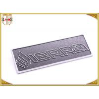 Quality OEM Service Decorative Shiny Chrome Metal Logo Tags , Zinc Alloy Custom Logo Clothing Labels  for sale