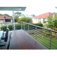 Quality wood handrail stainless steel rod railing for staircase / terrace design for sale