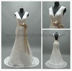 Quality Mermaid & Trumpet V-Neck Low Back Satin Belt Lace Wedding Dress #AS2042 for sale
