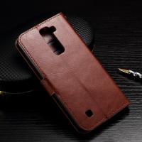 Quality Wallet Stand Lg K7 Leather Cases Slim Design Brown Crazy Horse Drop Protection for sale