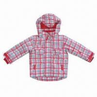Quality Children Winter Jacket with Checkered Print, Made of 210T Polyester Lining for sale