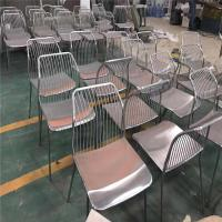 China high quality stainless steel chair brushed finish metal gold chair for restaurant on sale