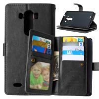 LG G2 G3 G4 Stylus G4S G5 Wallet Case Retro Leather Cover Bags Pouch 9 Cards