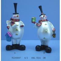 Quality Modern Unique Pearl White Polyresin Figurine , Christmas Snowman Figurines for sale