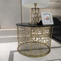 Quality luxurious hotel furniture bedroom stainless steel metal base gold mirror finish for sale