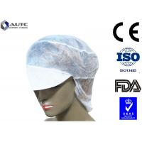 Quality Peak Disposable Medical Caps Stitched Band Repels Fluids With Hair Net for sale