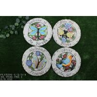 Quality Small Ceramic Garden Decorations , Round Stepping Stones With Bird And Flower Design for sale