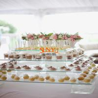 Buy Dessert Food Service Trays Stack More Tiers Glass Plexiglass Display Shelves at wholesale prices