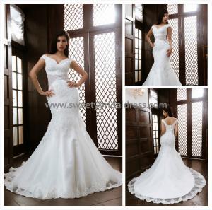 Quality Mermaid & Trumpet V-Neck Off the Shoulder Beading Lace Bridal Dress XG008 for sale