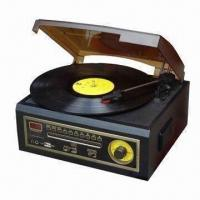 China Wooden Retro 5-in-1 Turntable Player, AM/FM Radio CD/Cassette/USB Player on sale
