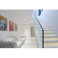Quality Inside white Straight staircase wooden stair with customized design for sale