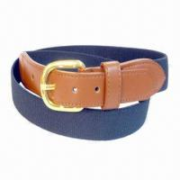 Fashionable Cotton Webbing Belt for Men with Leather for sale