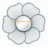 Quality China Factory Metal Wire Decorated Sunflower Shape Wall Mirror For Home Decor for sale