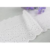 Embroidered Flower Eyelet Cotton Lace Trim With Azo Free Organic 13cm Width for sale