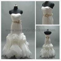 Quality Mermaid & Trumpet Sweetheart Satin Flower Belt Organza Wedding Dress #AS1144A for sale