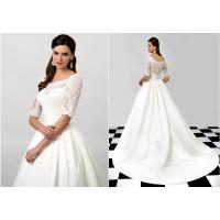 Quality NEW!!! Lace sleeves A line skirt wedding dress Satin skrit Bridal gown #EB0006 for sale