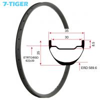 Quality 7-tiger carbon mountain bicycle wheels rim 29 er carbon racing bike brompton fat bike 35 x 25  holes Tubeless Compatible for sale