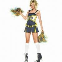 Quality Cheerleader Costumes, Gives Cheer Costumes, Includes Skirt and Pom for sale