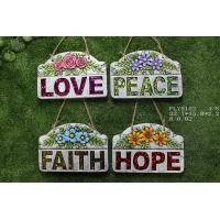 Quality Portable Household Ceramics , Cement Garden Decoration With Wording Love Peace Faith Hope for sale