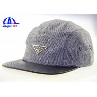 Quality Luxury 5 Panel Camp Snapback Cap With Metal Logo On Front and PU Leather On Peak for sale