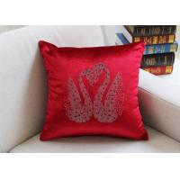 Quality Swan Pattern Cushion Cover Luxury European Diamond Technology Car Seat Chair Pillow Cover Velvet Square Pillowcase for sale