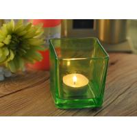 Quality OEM Square Replacement Glass Candle Holder With Different Colors for sale