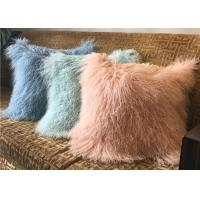 Quality 18 Inches Long Sheep Fur Decorative Pillows , Mongolian Fur Outdoor Throw Pillows  for sale